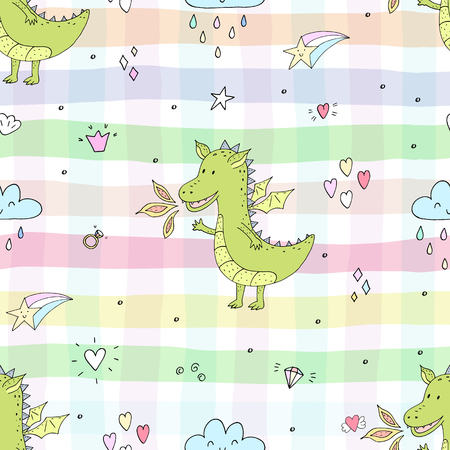 Cute hand drawn seamless pattern with funny dragons. Illustration