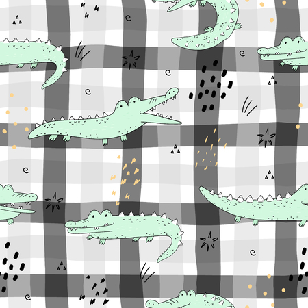 Cute hand drawn seamless pattern with funny crocodiles