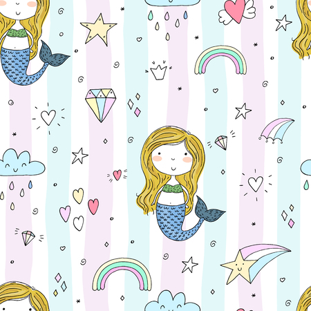 Seamless pattern with Hand drawn vector little mermaid. Illustration
