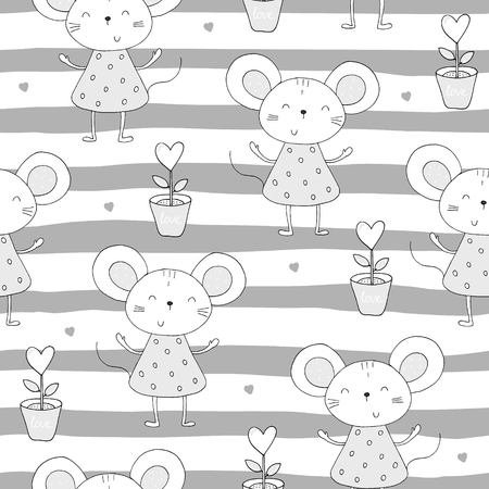 hand drawn Sample pattern with little mouse.  イラスト・ベクター素材