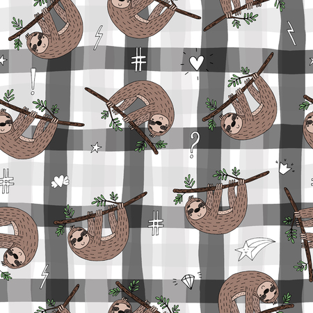 seamless pattern with cute doodle sloth print.