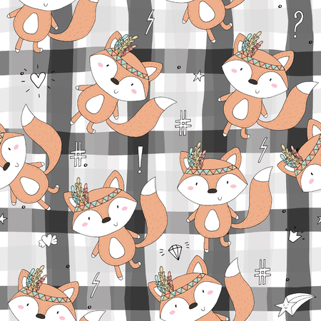 Hand drawn vector Cute seamless pattern with Cute Fox.