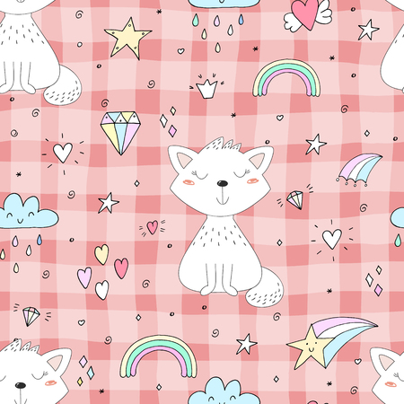 Seamless pattern with cute little cat. vector illustration. Illustration