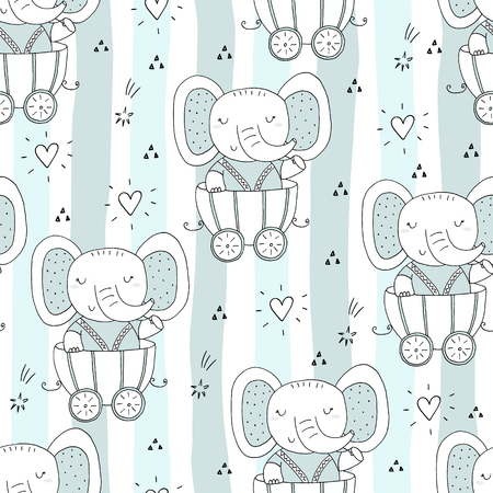 Hand drawn seamless pattern with Cute elephant In the trailer. Pattern print for kids.