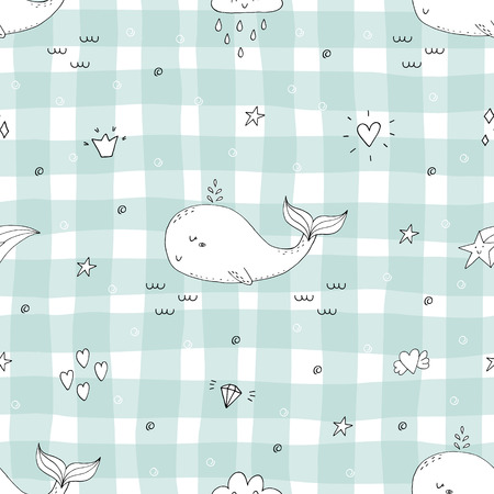 Cute background with cartoon blue whales. Baby shower design Illustration