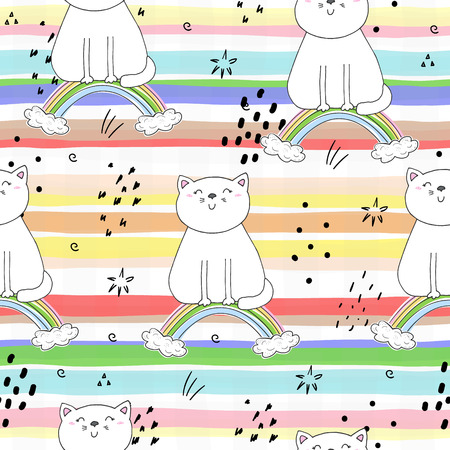Hand drawn seamless pattern with cute cat on a rainbow, doodle illustration for kids, vector print