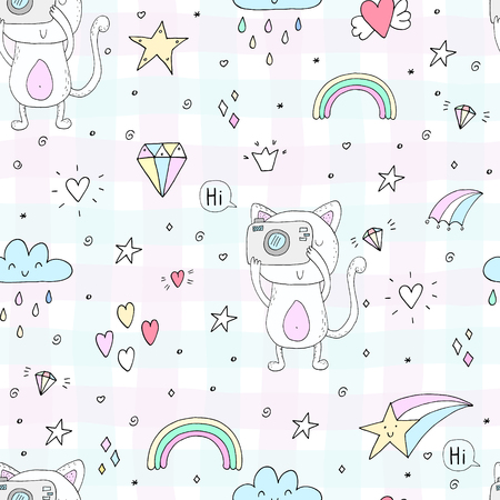 Cute hand drawn cats colorful seamless pattern background.