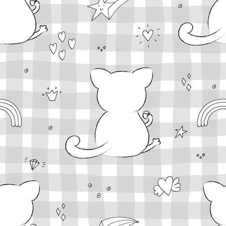 Cute seamless pattern with funny cat . vector illustration