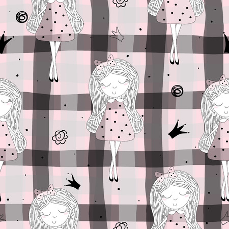 Cute hand drawn with cute little girl vector seamless pattern illustration. Illustration