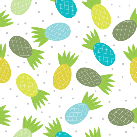 Cute hand drawn seamless pineapple pattern vector illustration.