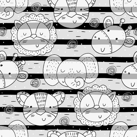 Cute hand drawn doodles funny African animals. Seamless pattern. Vettoriali