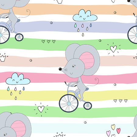 hand drawn Sample pattern with little mouse riding a bicycle.  イラスト・ベクター素材