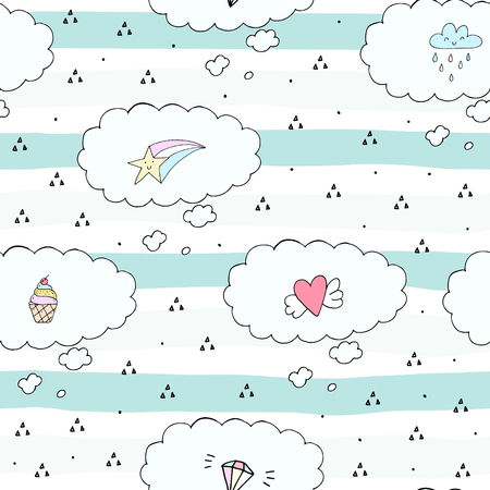 Cute hand drawn seamless clouds pattern vector illustration.