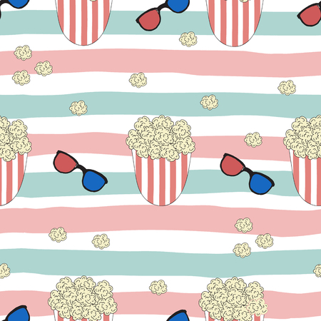 funny print with pop corn. Pop art style. Illustration
