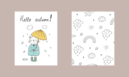 Hello autumn card. little cat in the rain with an umbrella vector print in cartoon style. vector illustration. Illustration