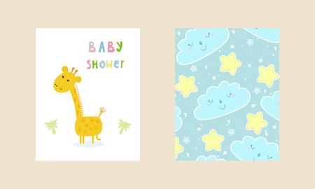 Baby Shower card design. Cute hand drawn card with giraffe. Printable template