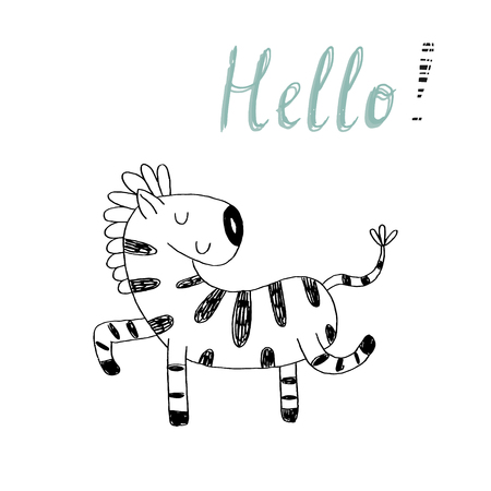 funny cartoon zebra vector print. cartoon style Illustration