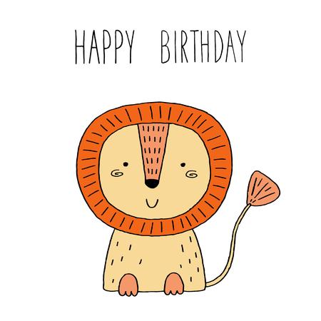 funny cute lion cartoon style. vector print.
