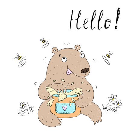vector card with cute hand drawn bear. vector print. Illustration