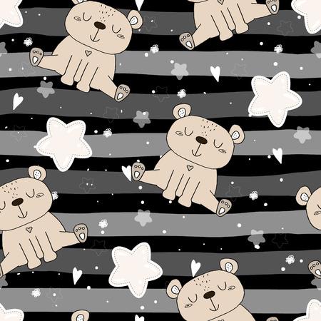 Cute seamless pattern with funny teddy bear. vector illustration. 일러스트
