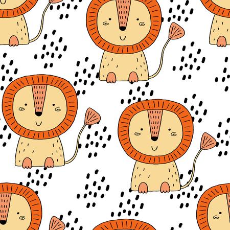 Cute lion Pattern print for kids. Printable templates.