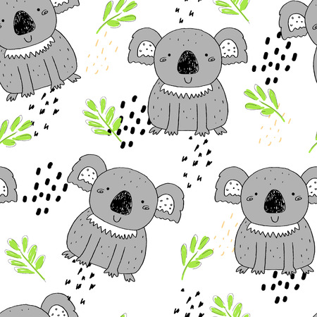 Seamless pattern with cute koala . Vector background for kids.