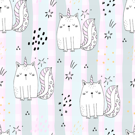 Seamless pattern with hand drawn cute cats unicorn. Cartoon cat vector illustration. Illustration