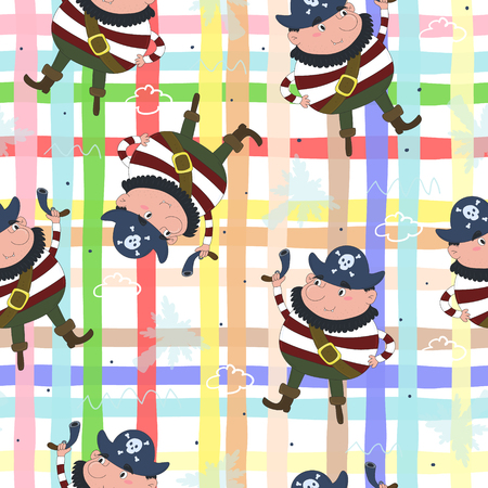Cute seamless pattern with funny pirate. vector illustration