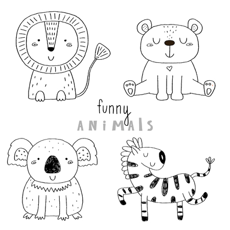 Cute hand drawn vector sketch of a cute Animals. Vector Illustration.