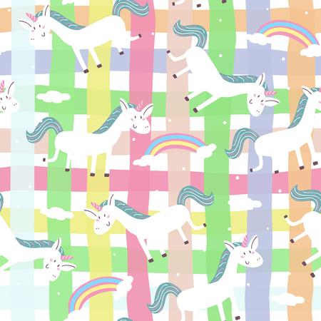 Cute hand drawn unicorn vector pattern. vector illustration. Illustration