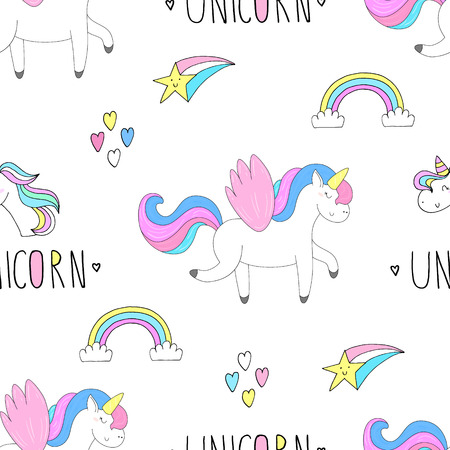 Cute hand drawn unicorn vector pattern. vector illustration. Stock Photo
