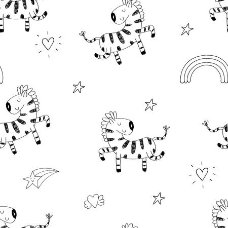 Cute hand drawn funny zebra Seamless pattern. vector illustration.
