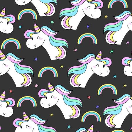 Cute hand drawn unicorn vector pattern. vector illustration