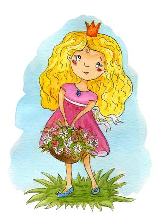 Hand Drawn cute cartoon little princes. Cute girl  illustration