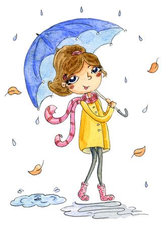 Cute girl with umbrella. Hand Drawn  illustration