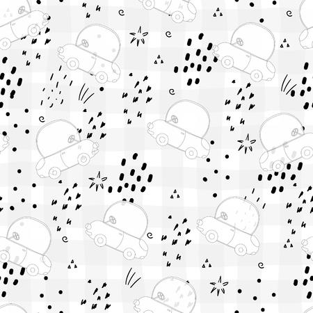 seamless pattern with retro cartoon car. vector print Illustration