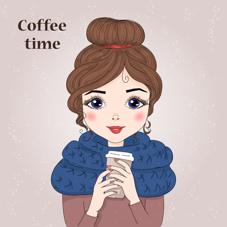 Hand drawn beautiful cute girl with coffee in his hands. Vector illustration