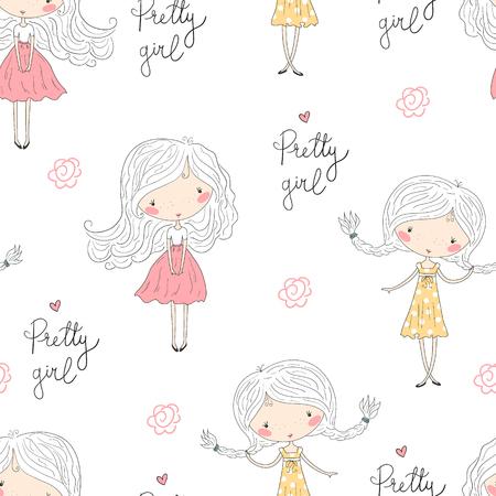Cute little girl vector seamless pattern illustration.
