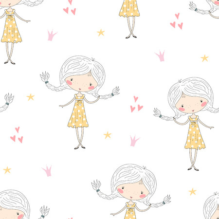cute little girl vector seamless pattern illustration