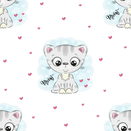 Seamless pattern with cute little cat. vector illustration.  イラスト・ベクター素材