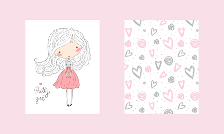 Hand drawn cute fashion cartoon girl and hearts background. Vector illustration. Greeting card.  イラスト・ベクター素材