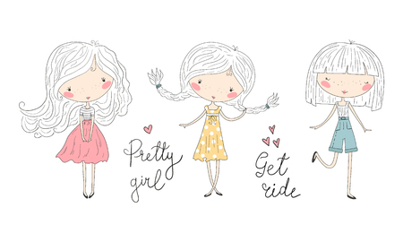 Hand Drawn cute little girls, doodle nursery illustration.  イラスト・ベクター素材
