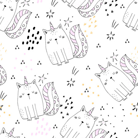 Seamless pattern with hand drawn cute cats unicorn. Cartoon cat vector illustration.  イラスト・ベクター素材