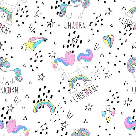 Cute hand drawn unicorn vector pattern. vector illustration.  イラスト・ベクター素材