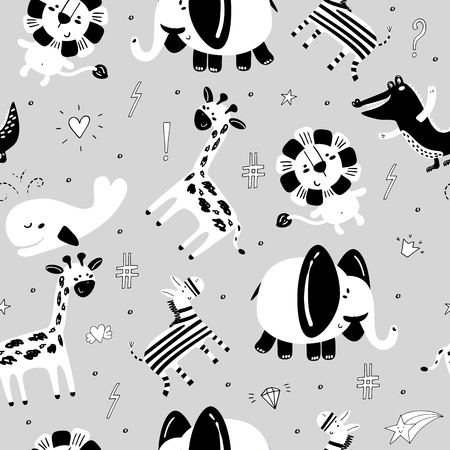 Cute hand drawn funny African animals. Seamless pattern  イラスト・ベクター素材