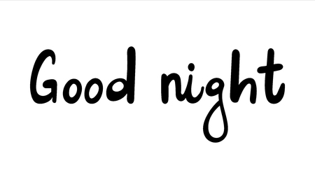 Cute print with lettering. Good night - Vector illustration