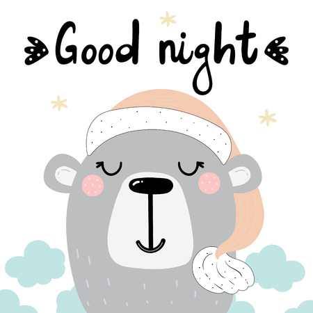 Good night print with cute bear and lettering.