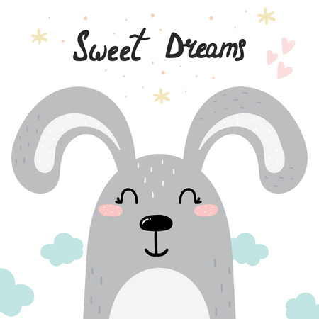 Cute Sweet dreams card with hand drawn bunny. vector print