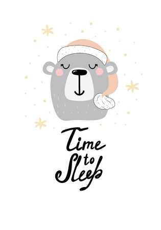 Cute Time to sleep card with hand drawn bear. vector print