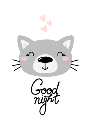 Cute good night card with hand drawn cat. vector print